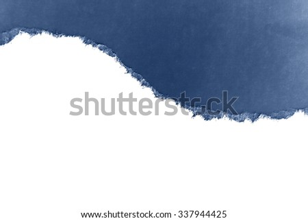 Ripped blue  paper, space for text - stock photo