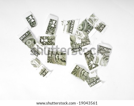 Ripped dollar banknote on white background.