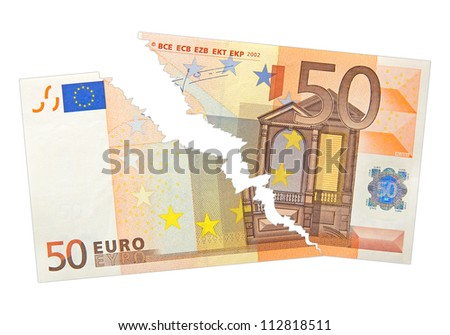 ripped fifty euro bank note isolated on white - stock photo
