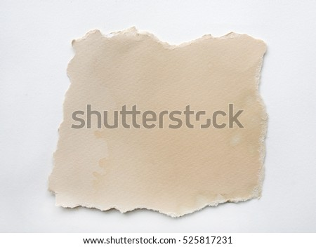 Ripped grunge brown paper on white background