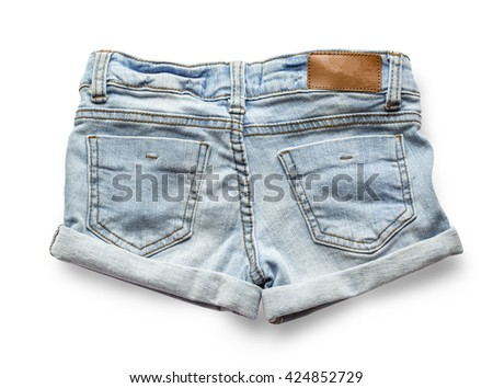 Ripped handmade jeans shorts isolated on white background. with clipping path - stock photo