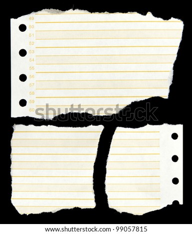 Ripped lined paper on black background - stock photo