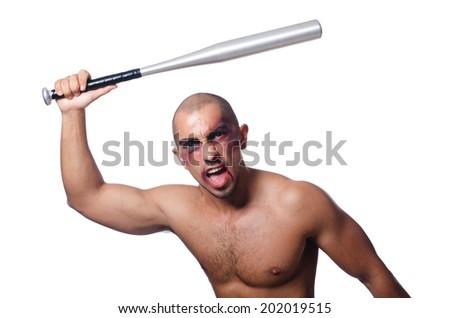 Ripped man with baseball bat on white - stock photo