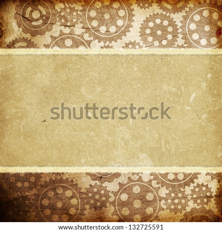 Ripped paper with vintage pattern - stock photo