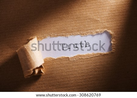 ripped paper with word truth - stock photo