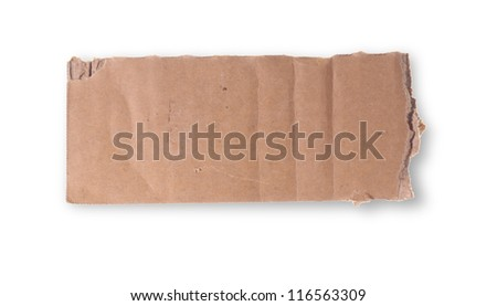 Ripped piece of cardboard on white - stock photo