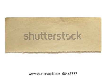 Ripped piece of fifty year old notepaper, isolated on white.  Lots of copy-space for your message.  Great textures. - stock photo