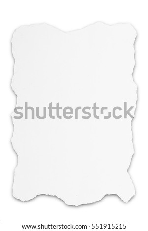 Ripped teared white paper isolated