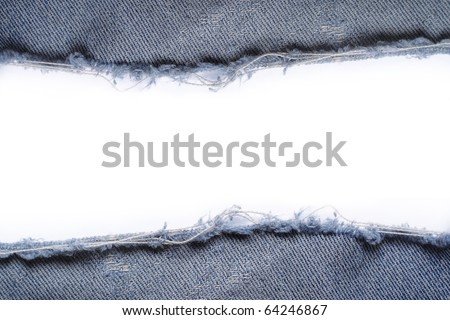 ripped vintage jeans texture over white background - stock photo
