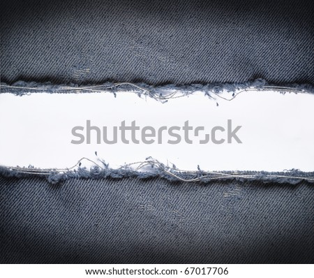 ripped vintage jeans with white space - stock photo