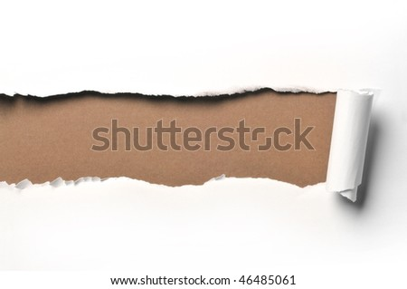 ripped white paper against a green background - stock photo