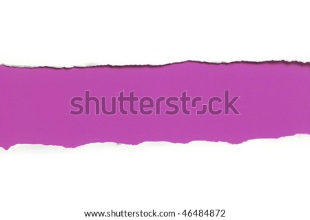 ripped white paper against a purple background - stock photo