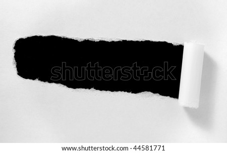 ripped white paper note on white background - stock photo