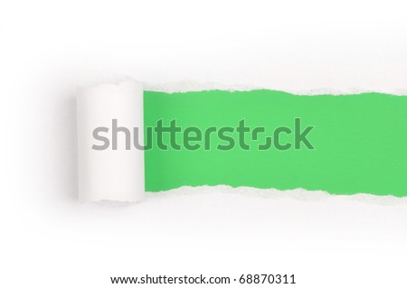Ripper paper with space for text with green background - stock photo
