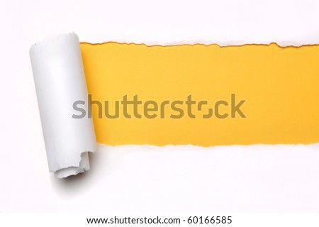 Ripper paper with space for text with yellow background - stock photo