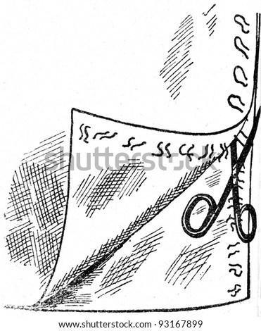 ripping seams - an illustration of the ABC sewing, Peasant Newspaper Publishers, Moscow, USSR, 1931 - stock photo