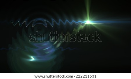 ripple effect on light flare special effect made in 3d software - stock photo