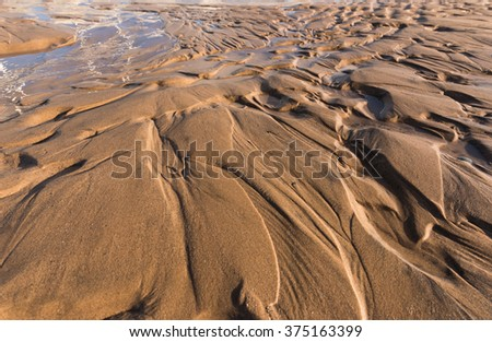 Ripple textures in the sand at sunset on a warm golden beach