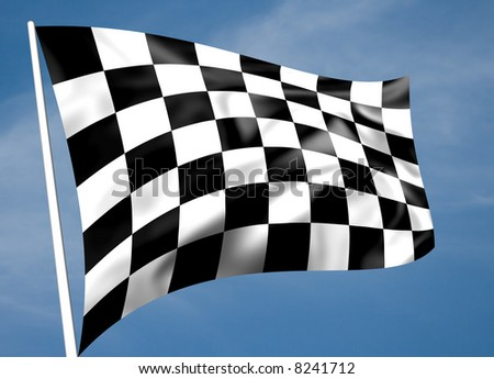 Rippled black and white chequered flag with sky background (illustration) - stock photo