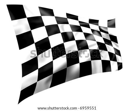 Rippled black and white chequered race flag