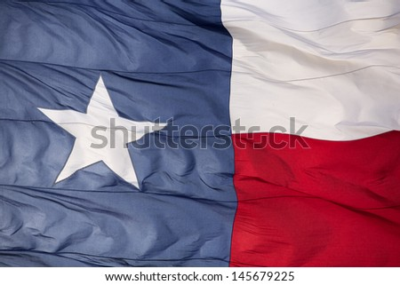 Rippled Flag of the State of Texas Backlit - stock photo
