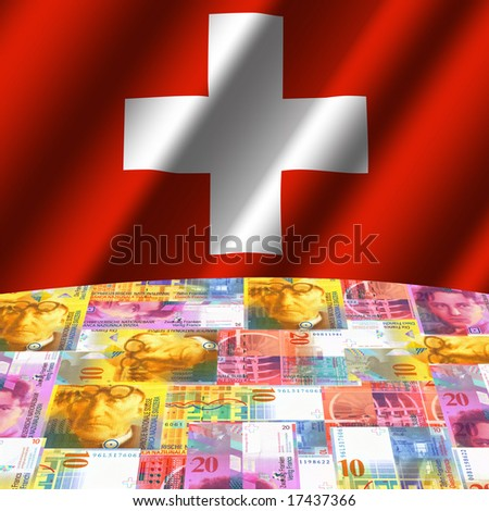 rippled flag with Swiss francs globe illustration - stock photo