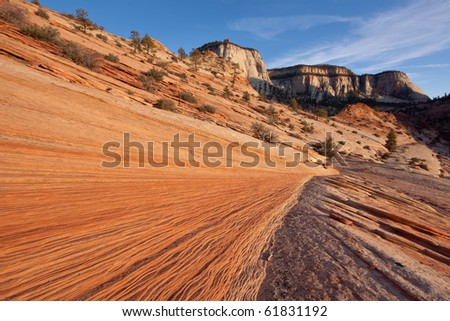 Rippled sandstone formation at sunset in eastern part of Zion National Park, Utah - stock photo