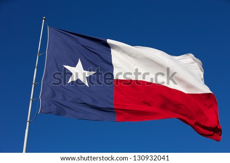 Rippled State Flag of Texas - stock photo