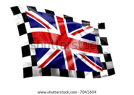 Rippled Union Jack flag with chequered border - stock photo