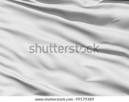 Rippled white fabric background in luxurious satiny material - stock photo