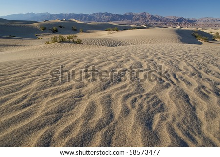 Ripples in sand dunes at Death Valley California in late afternoon - stock photo