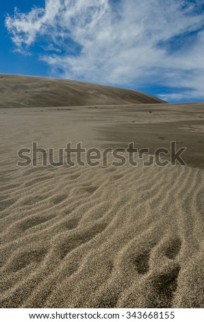 Ripples in the sand along the dunes in a Colorado park - stock photo