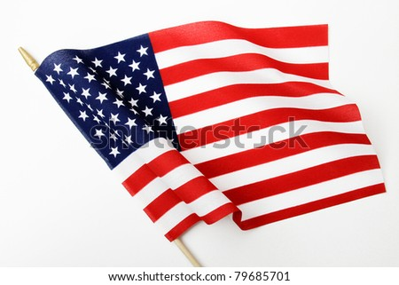 Ripples in US Flag on Pole - stock photo