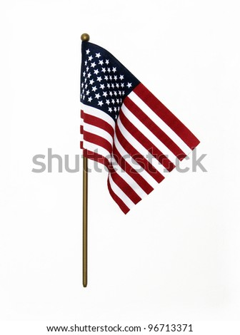 Ripples in US Flag on Pole isolated on white background - stock photo