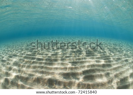 Ripples of sunlight reflected on the sandy ocean floor in clear, shallow water. Naama Bay, Red Sea, Egypt. - stock photo