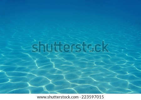 ripples of sunlight underwater on sandy seabed in the Caribbean sea - stock photo