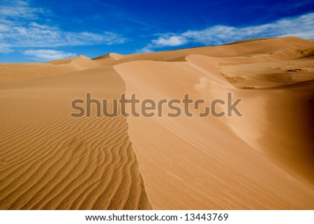 ripples on a sand dune in colorado great sand dune park - stock photo