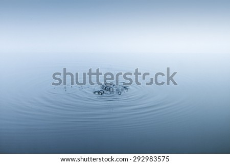 Ripples on the water surface and bubbles