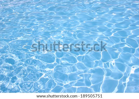 Rippling water in a pool. Bright blue water background