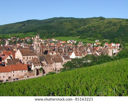 Riquewihr ,Alsace in north-eastern France. - stock photo