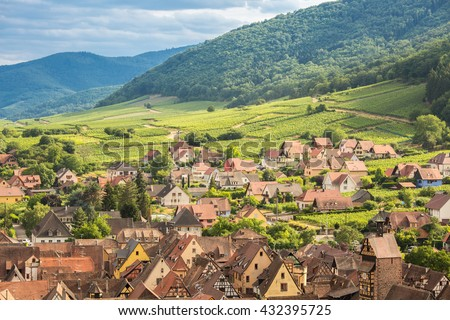 Riquewihr in the heart of the Alsatian vineyard Alsace France - stock photo