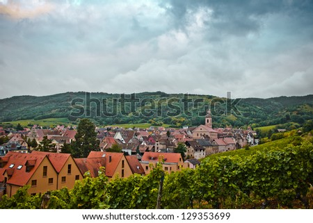 Riquewihr view from the hills to the east before a storm, Alsace, France