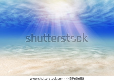 Rise of sun under clear sea/beautiful ocean water background  - stock photo
