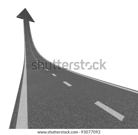 Rise to the top as a road to financial success and moving up with a sky is the limit symbol and a highway road rising with an arrow head pointing upward as a business successful concept. - stock photo