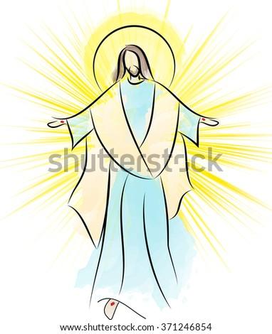 Risen Lord Jesus Christ Resurrection Easter Ilustración de ...