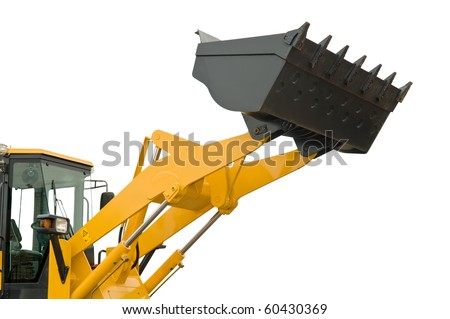 risen new loader excavator scoop shovel isolated - stock photo