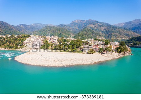 Rishikesh panoramic view, India. It is known as the Gateway to the Garhwal Himalayas and the Yoga Capital of the World. - stock photo
