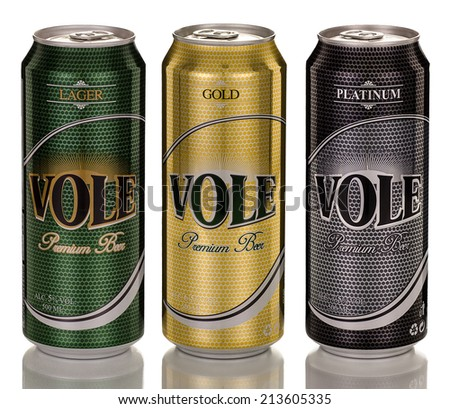 Rishon Le Zion, Israel - April 12, 2013: Three cans of Turkish Vole Premium Beer: Lager, Gold and Platinum which are imported from Turkey. 500ml in each can brewed by Turk Tuborg