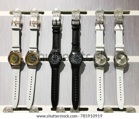 RISHON LE ZION, ISRAEL- DECEMBER 29, 2017: Watch clocks exposed in a store. Swatch is a Swiss watchmaker founded in 1983 by Nicolas Hayek