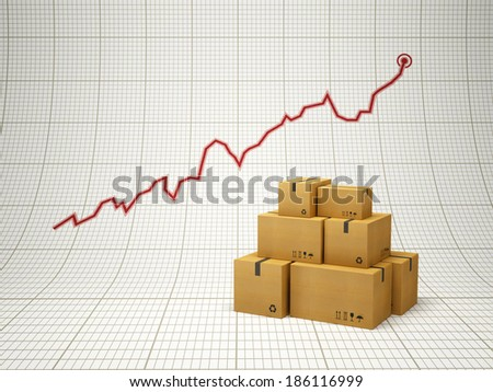 rising amount of delivered goods, positive chart - stock photo